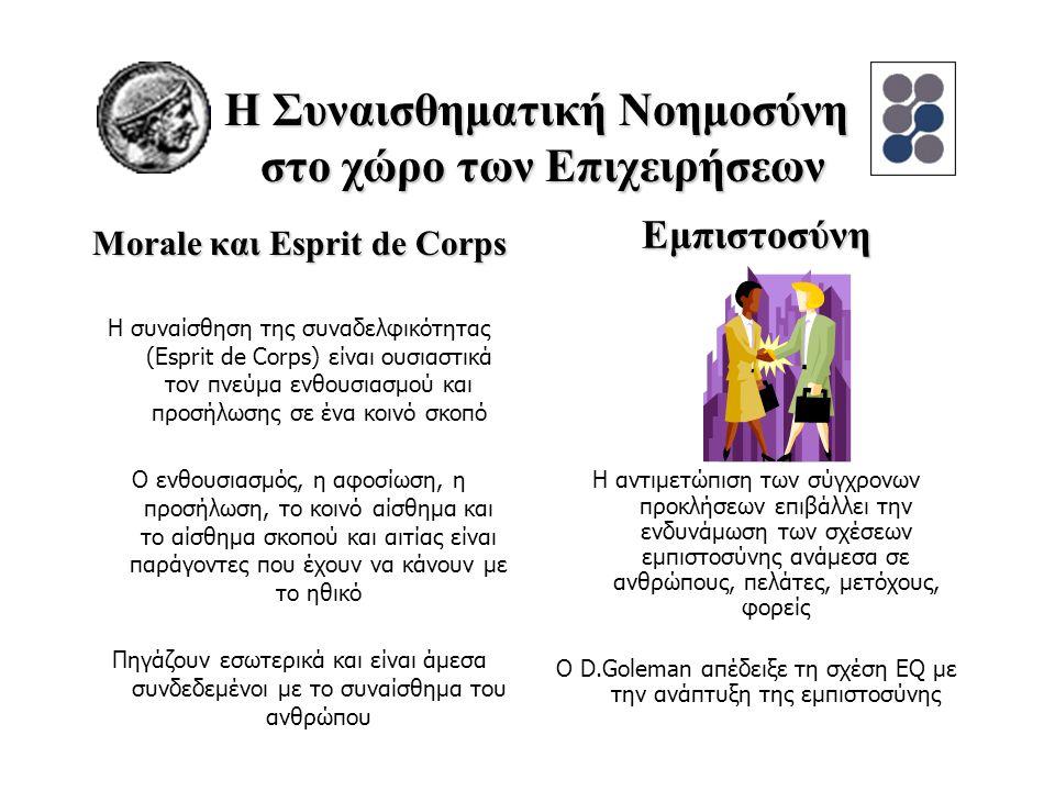 Morale και Esprit de Corps Η συναίσθηση της συναδελφικότητας (Esprit de Corps) είναι ουσιαστικά τον πνεύμα ενθουσιασμού και προσήλωσης σε ένα κοινό σκοπό Ο ενθουσιασμός, η αφοσίωση, η προσήλωση, το κοινό αίσθημα και το αίσθημα σκοπού και αιτίας είναι παράγοντες που έχουν να κάνουν με το ηθικό Πηγάζουν εσωτερικά και είναι άμεσα συνδεδεμένοι με το συναίσθημα του ανθρώπου Η αντιμετώπιση των σύγχρονων προκλήσεων επιβάλλει την ενδυνάμωση των σχέσεων εμπιστοσύνης ανάμεσα σε ανθρώπους, πελάτες, μετόχους, φορείς Ο D.Goleman απέδειξε τη σχέση EQ με την ανάπτυξη της εμπιστοσύνης Η Συναισθηματική Νοημοσύνη στο χώρο των Επιχειρήσεων Εμπιστοσύνη