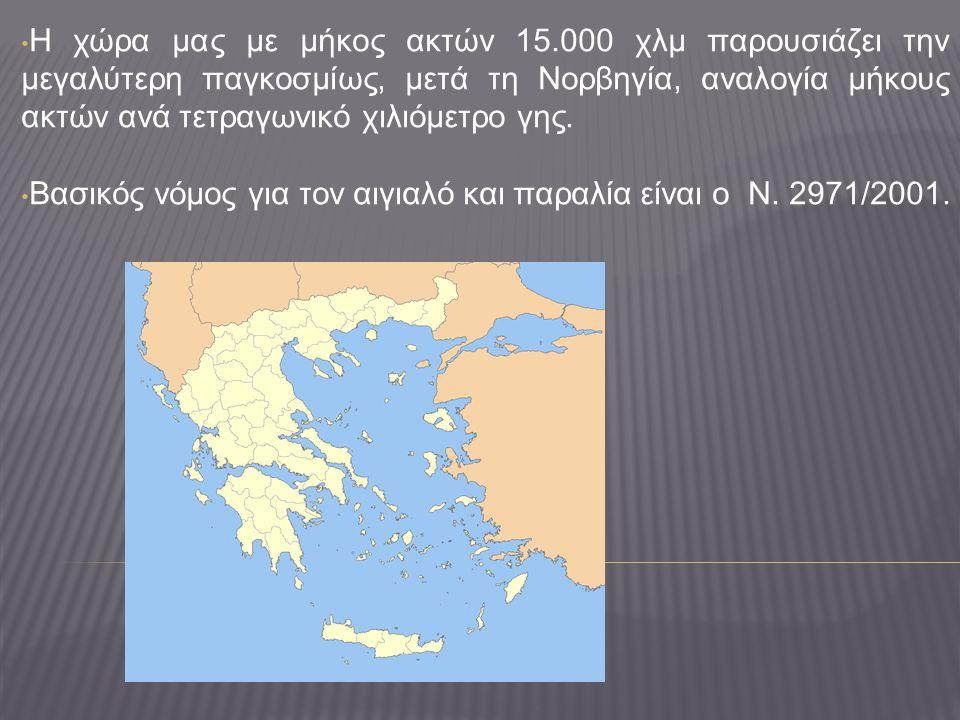 • Η χώρα μας με μήκος ακτών 15.000 χλμ παρουσιάζει την μεγαλύτερη παγκοσμίως, μετά τη Νορβηγία, αναλογία μήκους ακτών ανά τετραγωνικό χιλιόμετρο γης.