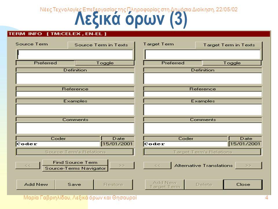Νέες Τεχνολογίες Επεξεργασίας της Πληροφορίας στη Δημόσια Διοίκηση, 22/05/02 Μαρία Γαβριηλίδου, Λεξικά όρων και Θησαυροί4 Λεξικά όρων (3)