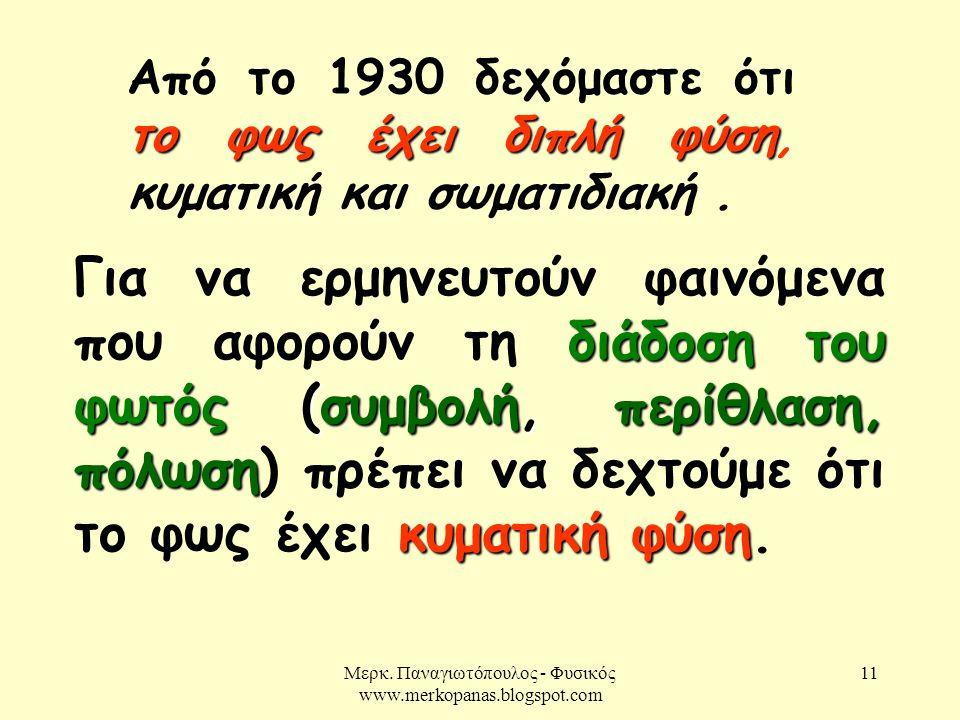 Μερκ. Παναγιωτόπουλος - Φυσικός www.merkopanas.blogspot.com 11 το φως έχει διπλή φύση Από το 1930 δεχόμαστε ότι το φως έχει διπλή φύση, κυματική και σ
