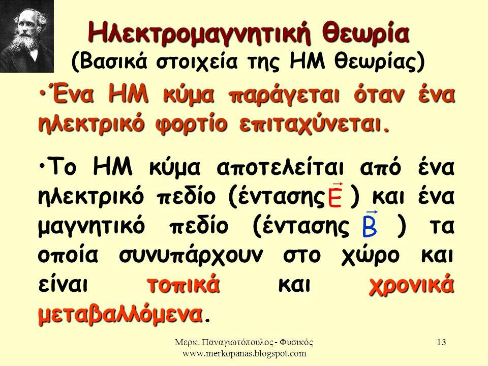 Μερκ. Παναγιωτόπουλος - Φυσικός www.merkopanas.blogspot.com 13 Ηλεκτρομαγνητική θεωρία Ηλεκτρομαγνητική θεωρία (Βασικά στοιχεία της ΗΜ θεωρίας) •Ένα Η