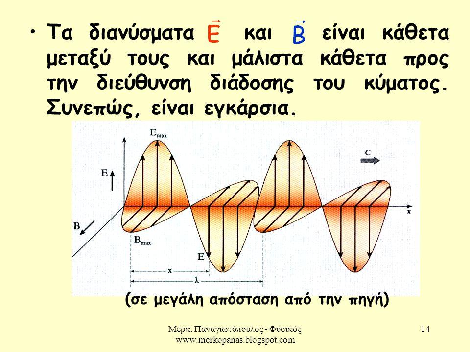 Μερκ. Παναγιωτόπουλος - Φυσικός www.merkopanas.blogspot.com 14 (σε μεγάλη απόσταση από την πηγή) •Τα διανύσματα και είναι κάθετα μεταξύ τους και μάλισ