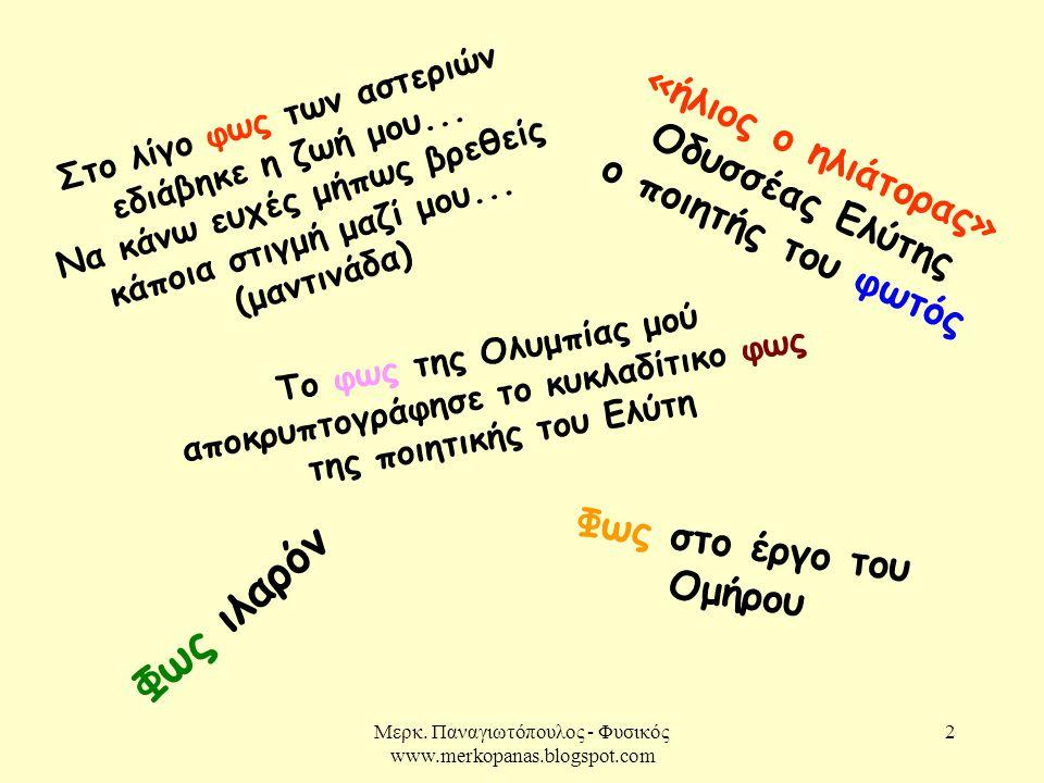Μερκ. Παναγιωτόπουλος - Φυσικός www.merkopanas.blogspot.com 2 Στο λίγο φως των αστεριών εδιάβηκε η ζωή μου... Να κάνω ευχές μήπως βρεθείς κάποια στιγμ