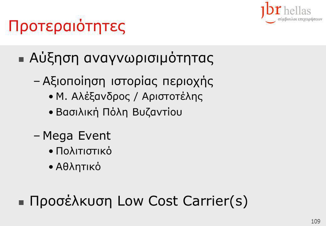 109 Προτεραιότητες  Αύξηση αναγνωρισιμότητας –Αξιοποίηση ιστορίας περιοχής •Μ. Αλέξανδρος / Αριστοτέλης •Βασιλική Πόλη Βυζαντίου –Mega Event •Πολιτισ