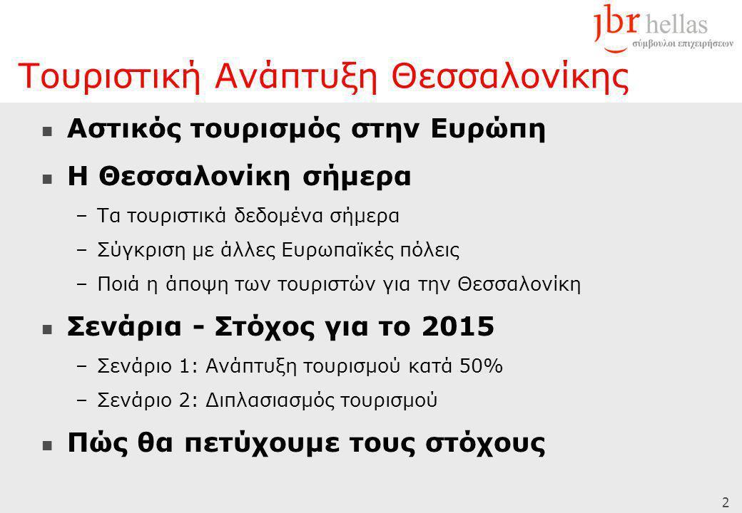 2  Αστικός τουρισμός στην Ευρώπη  Η Θεσσαλονίκη σήμερα –Τα τουριστικά δεδομένα σήμερα –Σύγκριση με άλλες Ευρωπαϊκές πόλεις –Ποιά η άποψη των τουριστ