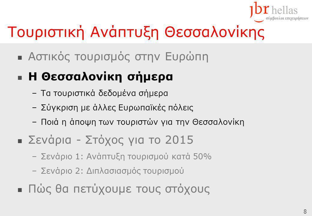 8  Αστικός τουρισμός στην Ευρώπη  Η Θεσσαλονίκη σήμερα –Τα τουριστικά δεδομένα σήμερα –Σύγκριση με άλλες Ευρωπαϊκές πόλεις –Ποιά η άποψη των τουριστών για την Θεσσαλονίκη  Σενάρια - Στόχος για το 2015 –Σενάριο 1: Ανάπτυξη τουρισμού κατά 50% –Σενάριο 2: Διπλασιασμός τουρισμού  Πώς θα πετύχουμε τους στόχους Τουριστική Ανάπτυξη Θεσσαλονίκης