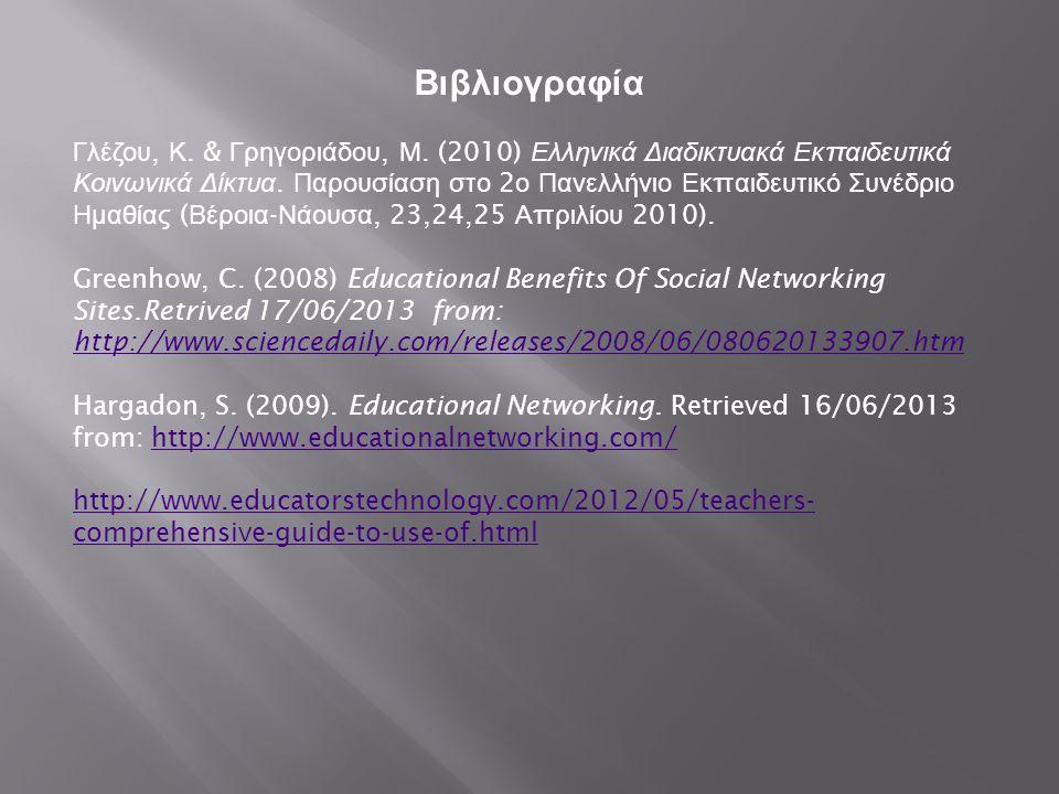 Βιβλιογραφία Γλέζου, Κ. & Γρηγοριάδου, Μ. (2010) Ελληνικά Διαδικτυακά Εκ π αιδευτικά Κοινωνικά Δίκτυα. Παρουσίαση στο 2 ο Πανελλήνιο Εκ π αιδευτικό Συ