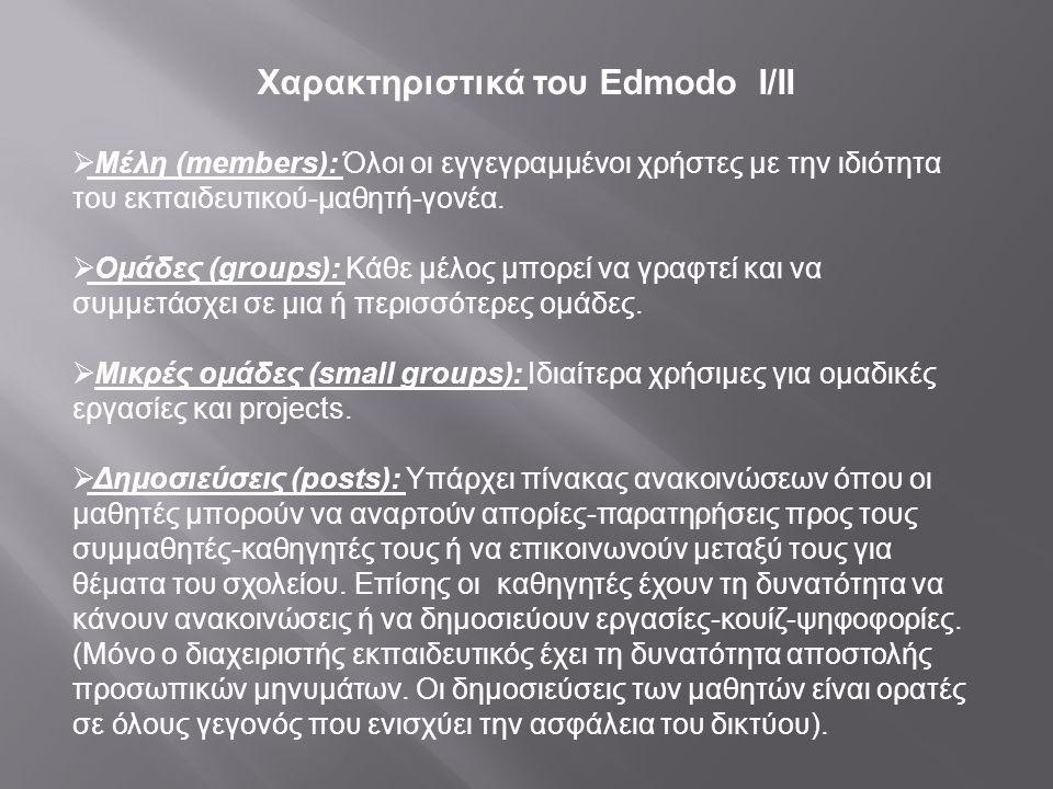 Χαρακτηριστικά του Edmodo Ι/ΙΙ  Μέλη (members): Όλοι οι εγγεγραμμένοι χρήστες με την ιδιότητα του εκπαιδευτικού-μαθητή-γονέα.  Ομάδες (groups): Κάθε