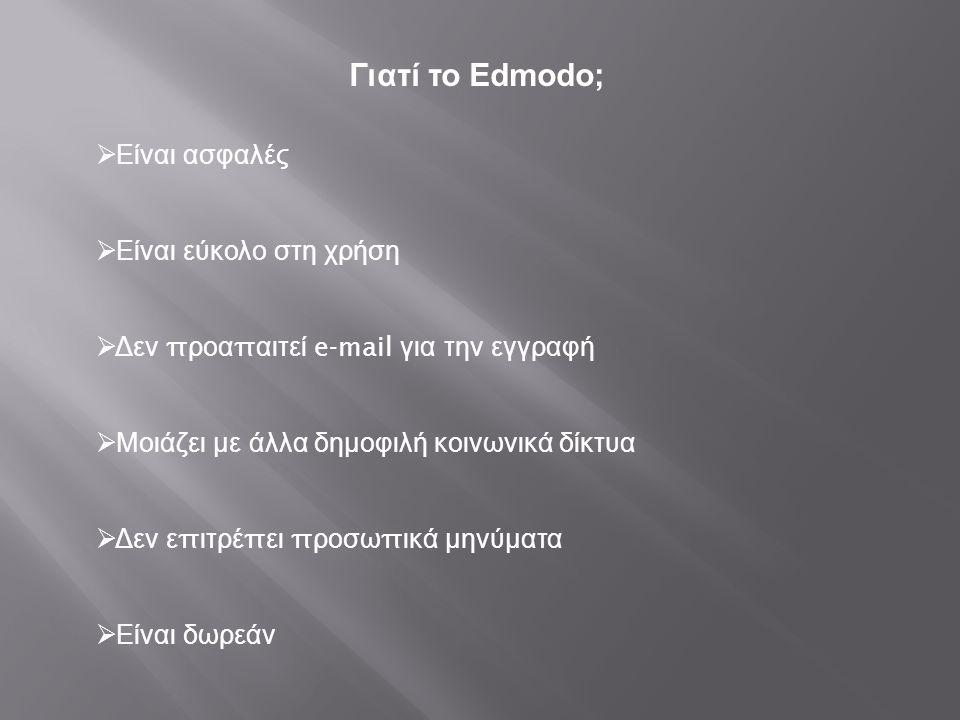 Γιατί το Edmodo;  Είναι ασφαλές  Είναι εύκολο στη χρήση  Δεν π ροα π αιτεί e-mail για την εγγραφή  Μοιάζει με άλλα δημοφιλή κοινωνικά δίκτυα  Δεν
