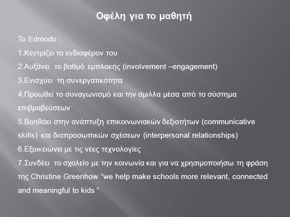 Οφέλη για το μαθητή Το Edmodo : 1.Κεντρίζει το ενδιαφέρον του 2.Αυξάνει το βαθμό εμπλοκής (involvement –engagement) 3.Ενισχύει τη συνεργατικότητα 4.Πρ