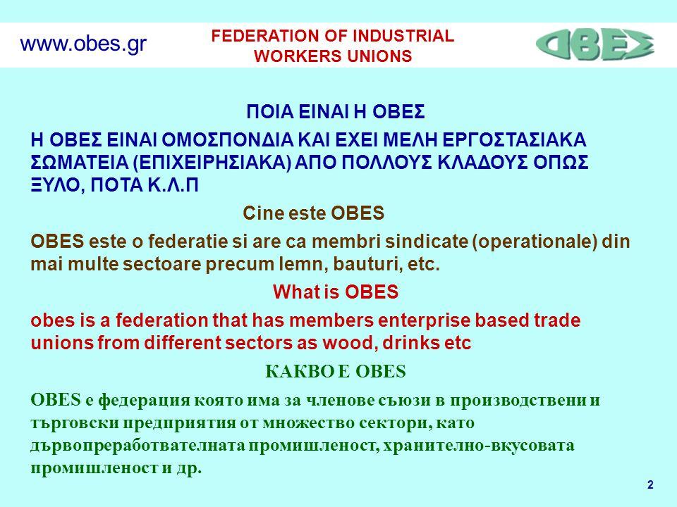 2 FEDERATION OF INDUSTRIAL WORKERS UNIONS www.obes.gr ΠΟΙΑ ΕΙΝΑΙ Η ΟΒΕΣ Η ΟΒΕΣ EINAI ΟΜΟΣΠΟΝΔΙΑ ΚΑΙ ΕΧΕΙ ΜΕΛΗ ΕΡΓΟΣΤΑΣΙΑΚΑ ΣΩΜΑΤΕΙΑ (ΕΠΙΧΕΙΡΗΣΙΑΚΑ) ΑΠΟ ΠΟΛΛΟΥΣ ΚΛΑΔΟΥΣ ΟΠΩΣ ΞΥΛΟ, ΠΟΤΑ Κ.Λ.Π Cine este OBES OBES este o federatie si are ca membri sindicate (operationale) din mai multe sectoare precum lemn, bauturi, etc.