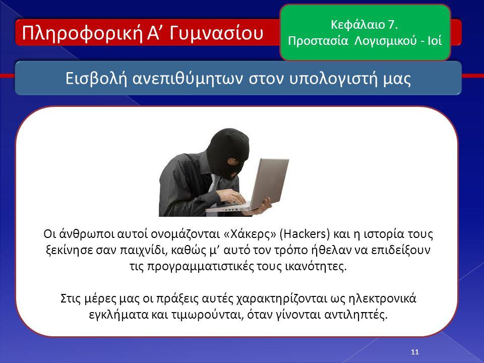 Πληροφορική Α' Γυμνασίου 11 Εισβολή ανεπιθύμητων στον υπολογιστή μας Κεφάλαιο 7. Προστασία Λογισμικού - Ιοί Οι άνθρωποι αυτοί ονομάζονται «Χάκερς» (Ha