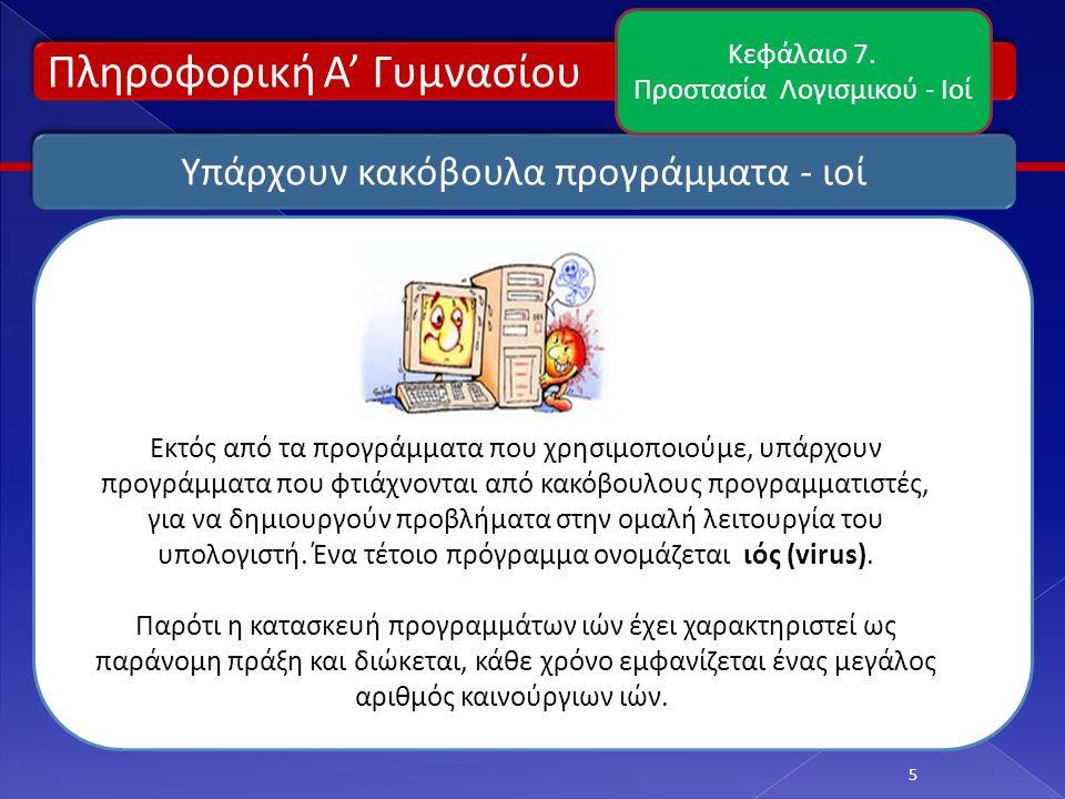 Πληροφορική Α' Γυμνασίου 6 Τι προβλήματα μπορεί να προκαλέσει ένας ιός; Κεφάλαιο 7.