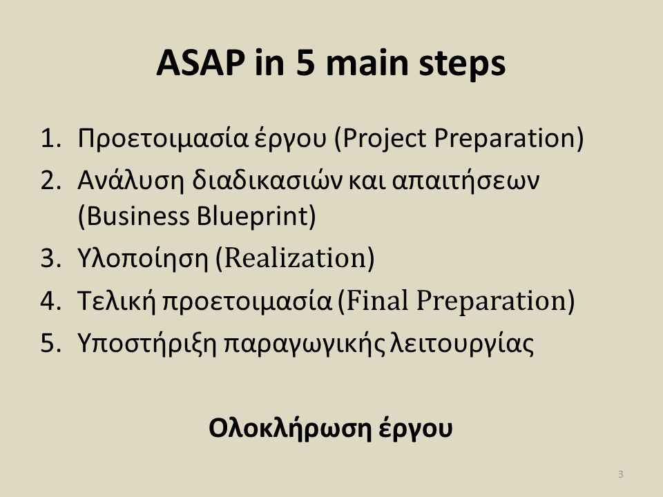 ASAP in 5 main steps 1.Προετοιμασία έργου (Project Preparation) 2.Ανάλυση διαδικασιών και απαιτήσεων (Business Blueprint) 3.Υλοποίηση ( Realization )