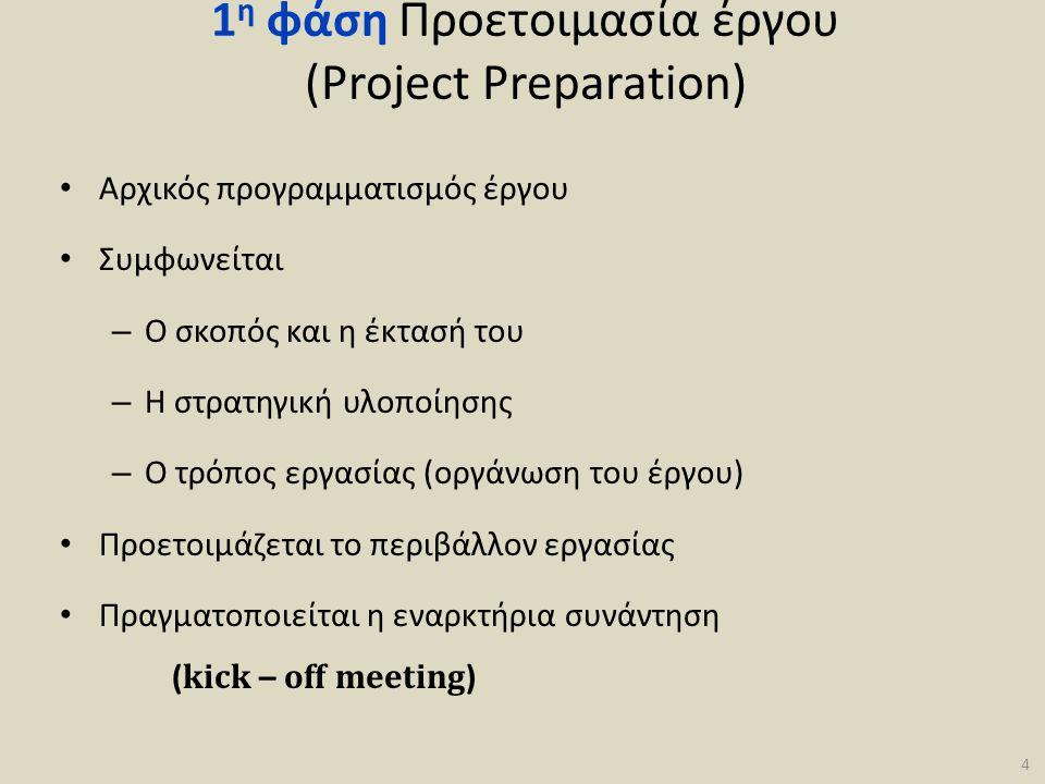 1 η φάση Προετοιμασία έργου (Project Preparation) • Αρχικός προγραμματισμός έργου • Συμφωνείται – Ο σκοπός και η έκτασή του – Η στρατηγική υλοποίησης