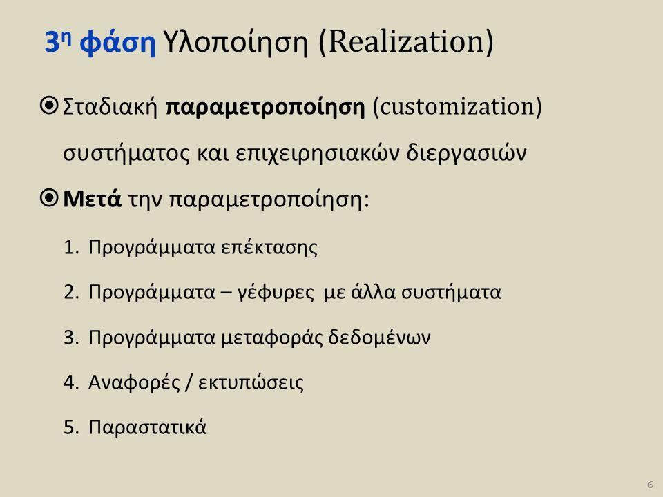 3 η φάση Υλοποίηση ( Realization )  Σταδιακή παραμετροποίηση ( customization ) συστήματος και επιχειρησιακών διεργασιών  Μετά την παραμετροποίηση: 1