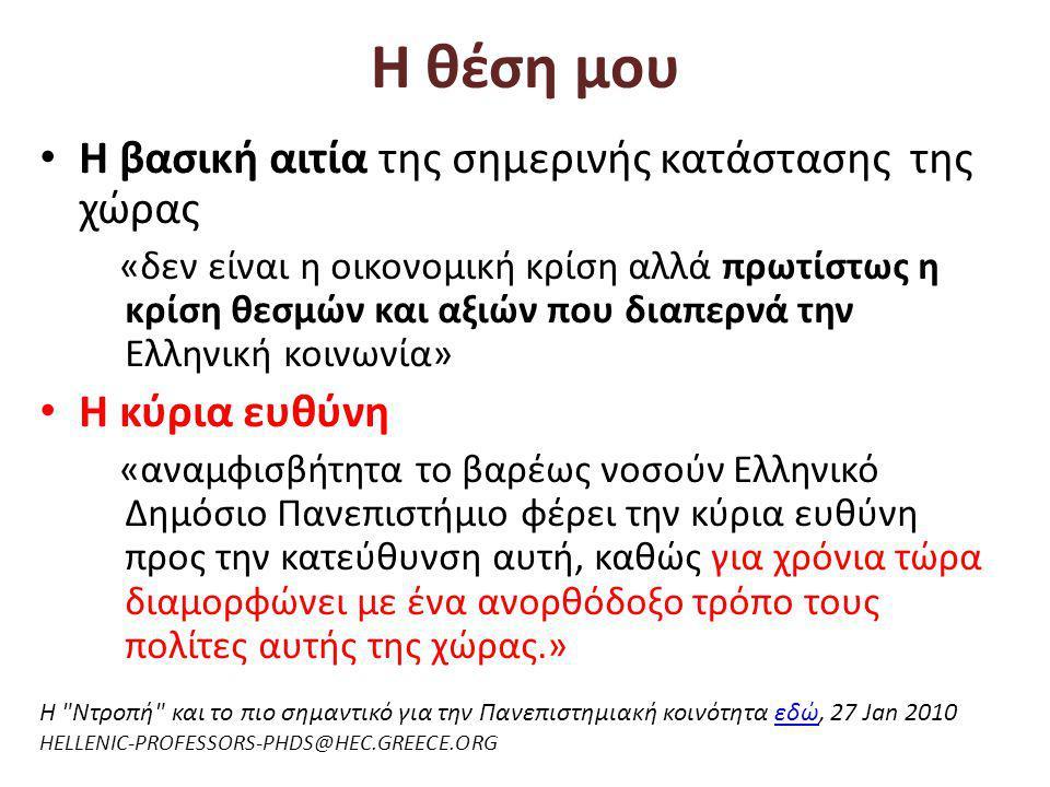 Η θέση μου • Η βασική αιτία της σημερινής κατάστασης της χώρας «δεν είναι η οικονομική κρίση αλλά πρωτίστως η κρίση θεσμών και αξιών που διαπερνά την Ελληνική κοινωνία» • Η κύρια ευθύνη «αναμφισβήτητα το βαρέως νοσούν Ελληνικό Δημόσιο Πανεπιστήμιο φέρει την κύρια ευθύνη προς την κατεύθυνση αυτή, καθώς για χρόνια τώρα διαμορφώνει με ένα ανορθόδοξο τρόπο τους πολίτες αυτής της χώρας.» H Ντροπή και το πιο σημαντικό για την Πανεπιστημιακή κοινότηταεδώ, 27 Jan 2010εδώ HELLENIC-PROFESSORS-PHDS@HEC.GREECE.ORG