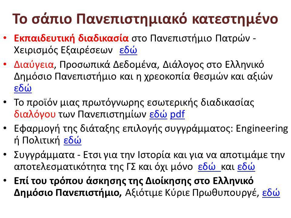 Το σάπιο Πανεπιστημιακό κατεστημένο • Εκπαιδευτική διαδικασία στο Πανεπιστήμιο Πατρών - Χειρισμός Εξαιρέσεων εδώεδώ • Διαύγεια, Προσωπικά Δεδομένα, Διάλογος στο Ελληνικό Δημόσιο Πανεπιστήμιο και η χρεοκοπία θεσμών και αξιών εδώ εδώ • Το προϊόν μιας πρωτόγνωρης εσωτερικής διαδικασίας διαλόγου των Πανεπιστημίων εδώ pdfεδώpdf • Εφαρμογή της διάταξης επιλογής συγγράμματος: Engineering ή Πολιτική εδώεδώ • Συγγράμματα - Ετσι για την Ιστορία και για να αποτιμάμε την αποτελεσματικότητα της ΓΣ και όχι μόνο εδώ και εδώεδώ εδώ • Επί του τρόπου άσκησης της Διοίκησης στο Ελληνικό Δημόσιο Πανεπιστήμιο, Αξιότιμε Κύριε Πρωθυπουργέ, εδώεδώ