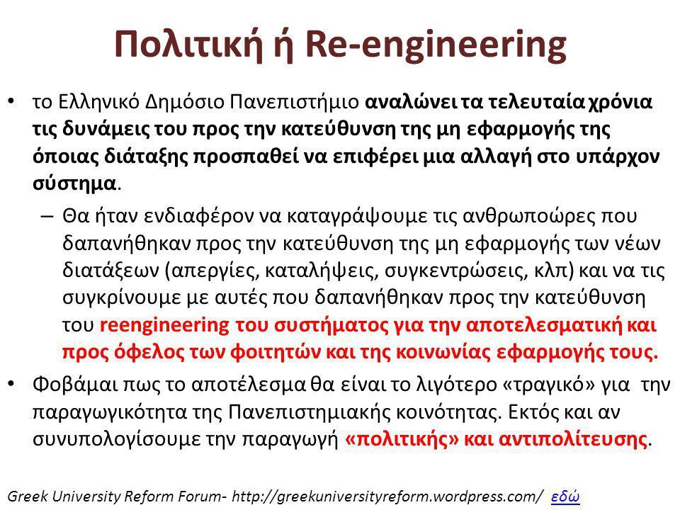 Πολιτική ή Re-engineering • το Ελληνικό Δημόσιο Πανεπιστήμιο αναλώνει τα τελευταία χρόνια τις δυνάμεις του προς την κατεύθυνση της μη εφαρμογής της όποιας διάταξης προσπαθεί να επιφέρει μια αλλαγή στο υπάρχον σύστημα.