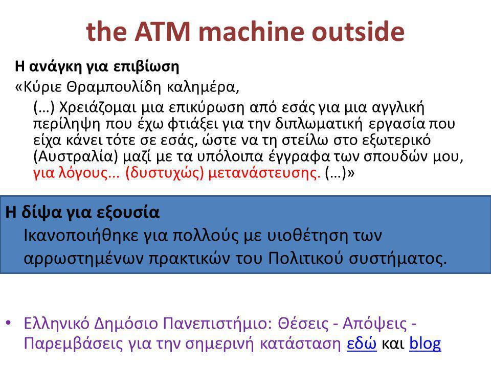 the ATM machine outside • Ελληνικό Δημόσιο Πανεπιστήμιο: Θέσεις - Απόψεις - Παρεμβάσεις για την σημερινή κατάσταση εδώ και blogεδώblog H ανάγκη για επιβίωση «Κύριε Θραμπουλίδη καλημέρα, (…) Χρειάζομαι μια επικύρωση από εσάς για μια αγγλική περίληψη που έχω φτιάξει για την διπλωματική εργασία που είχα κάνει τότε σε εσάς, ώστε να τη στείλω στο εξωτερικό (Αυστραλία) μαζί με τα υπόλοιπα έγγραφα των σπουδών μου, για λόγους...