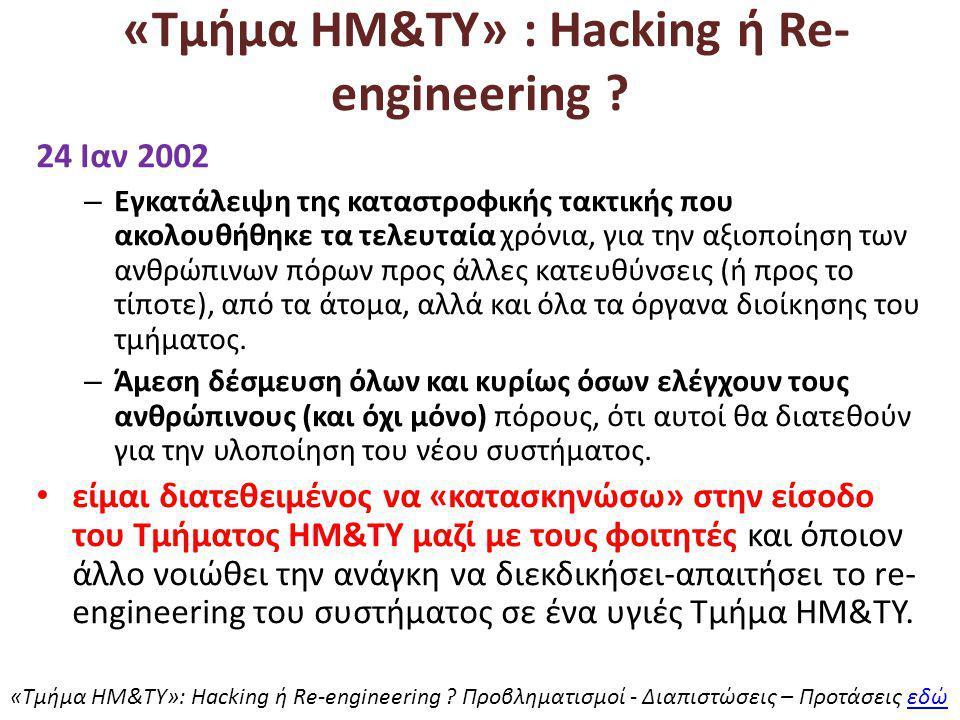 «Τμήμα ΗΜ&ΤΥ» : Hacking ή Re- engineering .