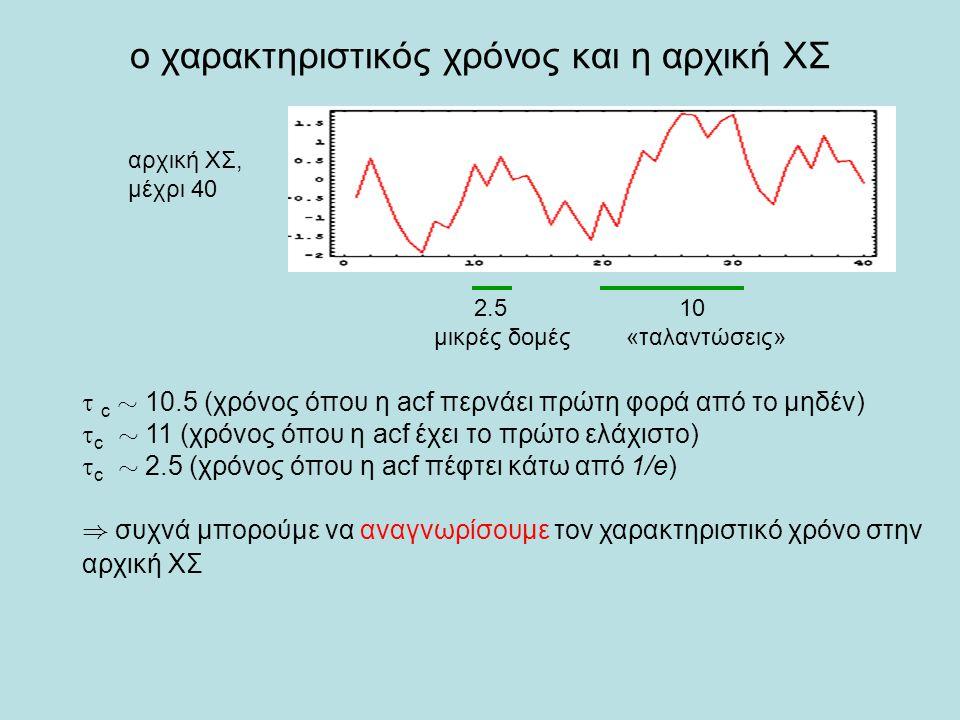 ο χαρακτηριστικός χρόνος και η αρχική ΧΣ αρχική ΧΣ, μέχρι 40  c » 10.5 (χρόνος όπου η acf περνάει πρώτη φορά από το μηδέν)  c » 11 (χρόνος όπου η ac