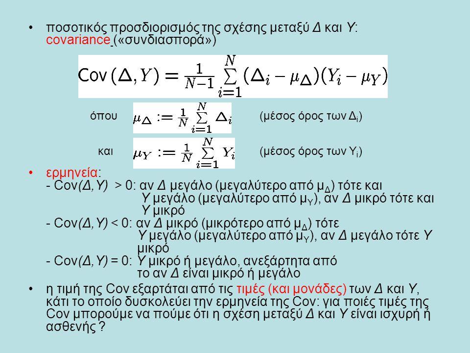 •ποσοτικός προσδιορισμός της σχέσης μεταξύ Δ και Υ: covariance («συνδιασπορά») •ερμηνεία: - Cov(Δ,Υ) > 0: αν Δ μεγάλο (μεγαλύτερο από μ Δ ) τότε και Υ