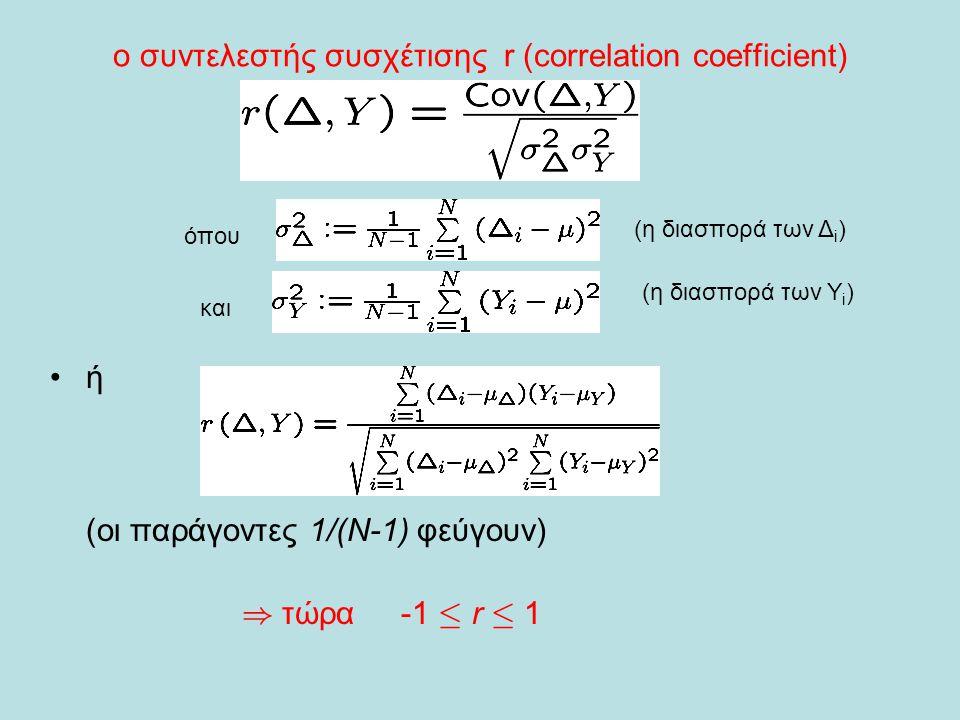 ο συντελεστής συσχέτισης r (correlation coefficient) •ή (οι παράγοντες 1/(Ν-1) φεύγουν) ) τώρα -1 · r · 1 όπου και (η διασπορά των Δ i ) (η διασπορά τ