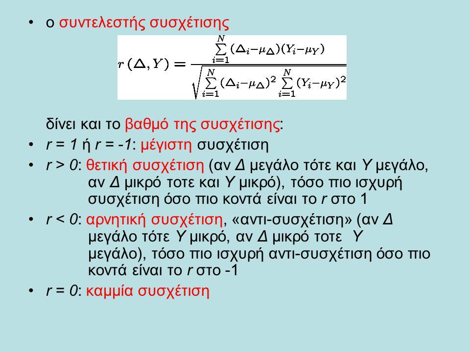 •ο συντελεστής συσχέτισης δίνει και το βαθμό της συσχέτισης: •r = 1 ή r = -1: μέγιστη συσχέτιση •r > 0: θετική συσχέτιση (αν Δ μεγάλο τότε και Υ μεγάλ