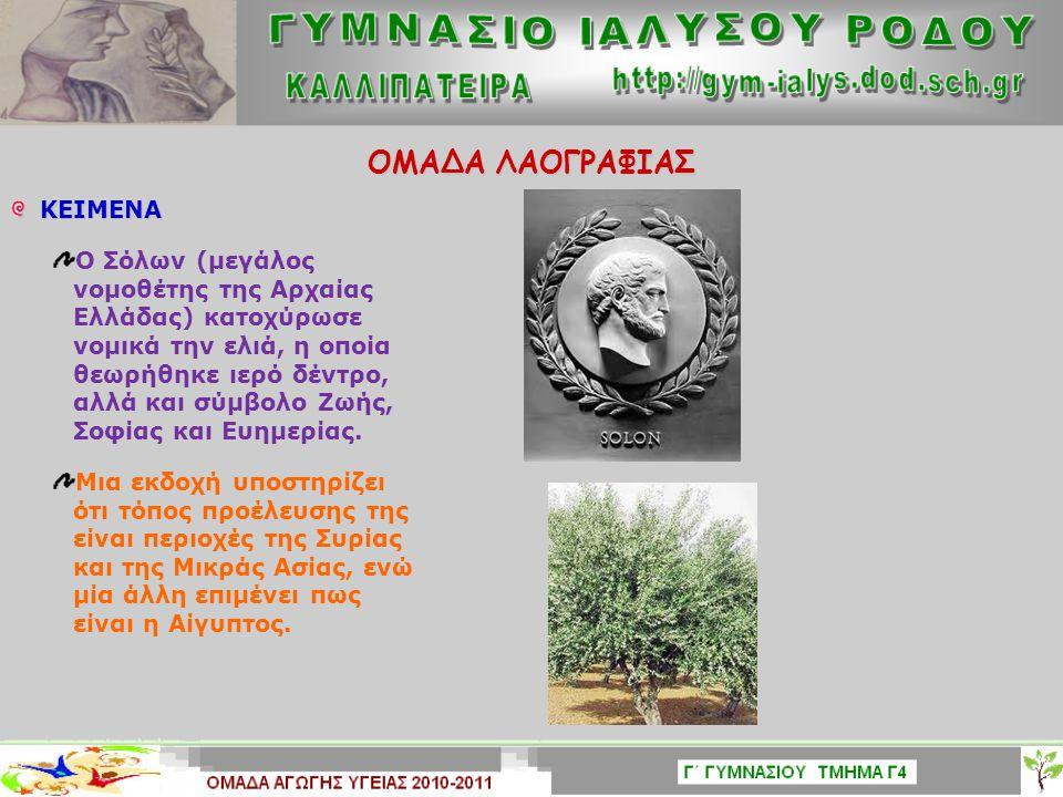 ΟΜΑΔΑ ΛΑΟΓΡΑΦΙΑΣ ΚΕΙΜΕΝΑ ΚΕΙΜΕΝΑ Οι Έλληνες ήταν οι πρώτοι που καλλιέργησαν το δένδρο της ελιάς για τα πολύτιμα προϊόντα του, την ελιά και το ελαιόλαδ