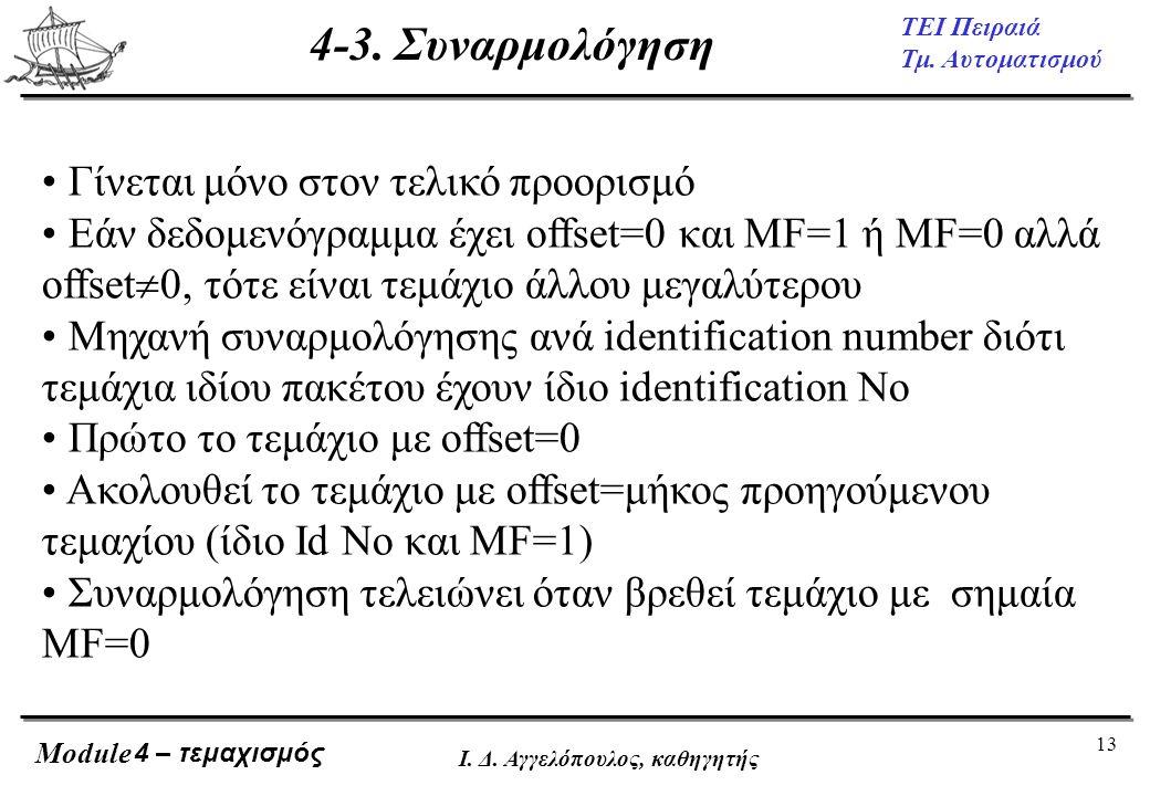 13 ΤΕΙ Πειραιά Τμ. Αυτοματισμού Module Ι. Δ. Αγγελόπουλος, καθηγητής • Γίνεται μόνο στον τελικό προορισμό • Εάν δεδομενόγραμμα έχει offset=0 και MF=1