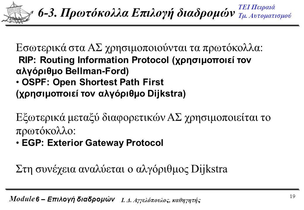 19 ΤΕΙ Πειραιά Τμ. Αυτοματισμού Module Ι. Δ. Αγγελόπουλος, καθηγητής Εσωτερικά στα ΑΣ χρησιμοποιούνται τα πρωτόκολλα: RIP: Routing Information Protoco