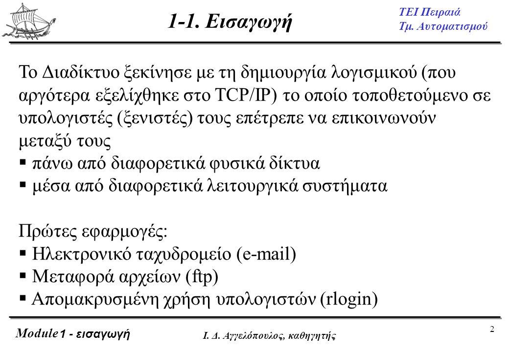 2 ΤΕΙ Πειραιά Τμ. Αυτοματισμού Module Ι. Δ. Αγγελόπουλος, καθηγητής 1-1. Εισαγωγή Το Διαδίκτυο ξεκίνησε με τη δημιουργία λογισμικού (που αργότερα εξελ
