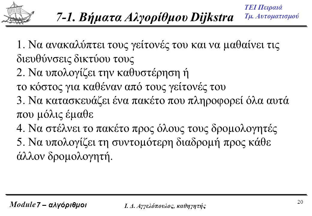 20 ΤΕΙ Πειραιά Τμ. Αυτοματισμού Module Ι. Δ. Αγγελόπουλος, καθηγητής 7 – αλγόριθμοι 7-1. Βήματα Αλγορίθμου Dijkstra 1. Να ανακαλύπτει τους γείτονές το