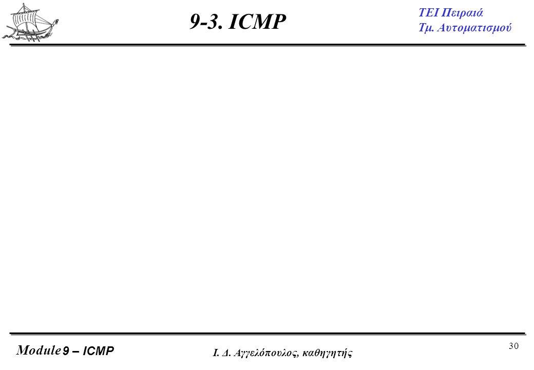 30 ΤΕΙ Πειραιά Τμ. Αυτοματισμού Module Ι. Δ. Αγγελόπουλος, καθηγητής 9-3. ICMP 9 – ICMP