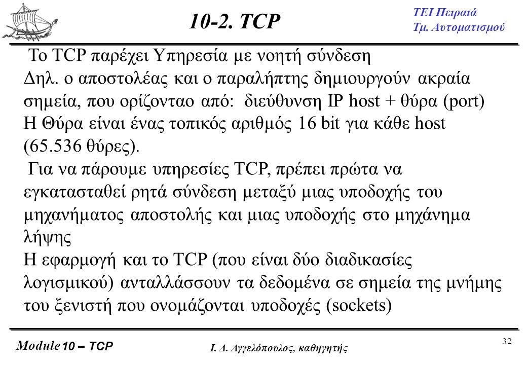32 ΤΕΙ Πειραιά Τμ. Αυτοματισμού Module Ι. Δ. Αγγελόπουλος, καθηγητής Το TCP παρέχει Υπηρεσία µε νοητή σύνδεση Δηλ. ο αποστολέας και ο παραλήπτης δηµιο