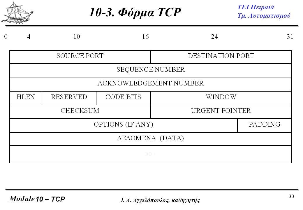 33 ΤΕΙ Πειραιά Τμ. Αυτοματισμού Module Ι. Δ. Αγγελόπουλος, καθηγητής 10-3. Φόρμα TCP 10 – TCP