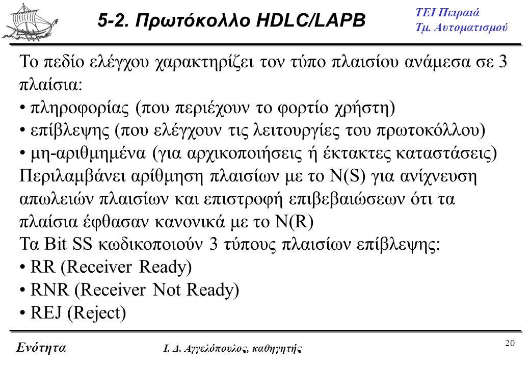 20 ΤΕΙ Πειραιά Τμ. Αυτοματισμού Ενότητα Ι. Δ. Αγγελόπουλος, καθηγητής 5-2. Πρωτόκολλο HDLC/LAPB Το πεδίο ελέγχου χαρακτηρίζει τον τύπο πλαισίου ανάμεσ
