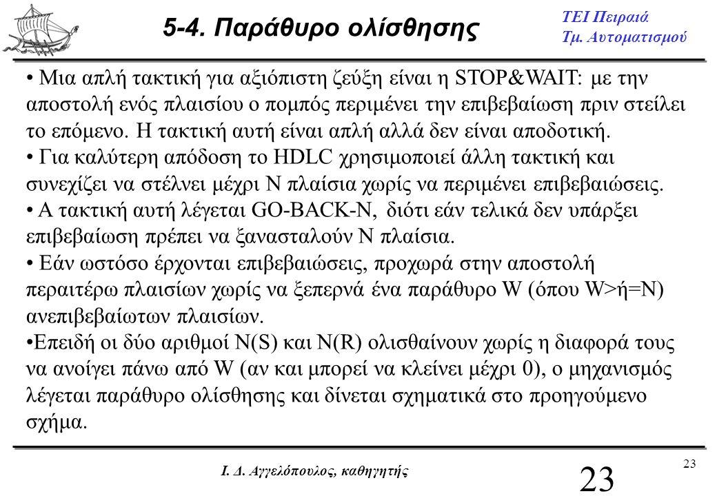 23 ΤΕΙ Πειραιά Τμ. Αυτοματισμού Ι. Δ. Αγγελόπουλος, καθηγητής 5-4. Παράθυρο ολίσθησης • Μια απλή τακτική για αξιόπιστη ζεύξη είναι η STOP&WAIT: με την