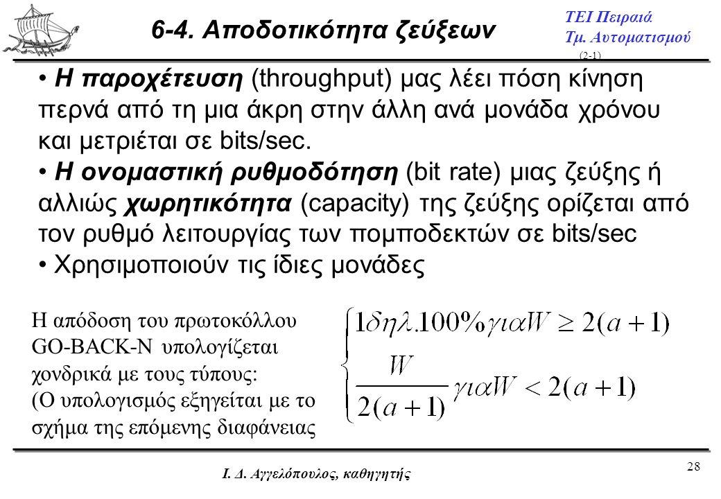 28 ΤΕΙ Πειραιά Τμ. Αυτοματισμού Ι. Δ. Αγγελόπουλος, καθηγητής 6-4. Αποδοτικότητα ζεύξεων • Η παροχέτευση (throughput) μας λέει πόση κίνηση περνά από τ