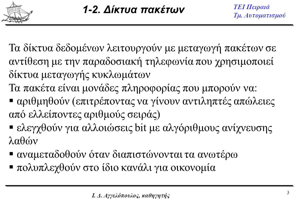3 ΤΕΙ Πειραιά Τμ. Αυτοματισμού Ι. Δ. Αγγελόπουλος, καθηγητής 1-2. Δίκτυα πακέτων Τα δίκτυα δεδομένων λειτουργούν με μεταγωγή πακέτων σε αντίθεση με τη