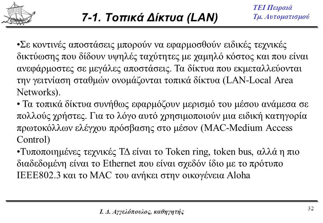 32 ΤΕΙ Πειραιά Τμ. Αυτοματισμού Ι. Δ. Αγγελόπουλος, καθηγητής 7-1. Τοπικά Δίκτυα (LAN) •Σε κοντινές αποστάσεις μπορούν να εφαρμοσθούν ειδικές τεχνικές