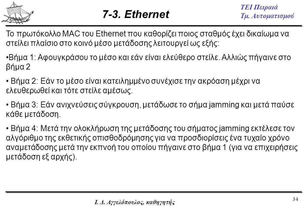 34 ΤΕΙ Πειραιά Τμ. Αυτοματισμού Ι. Δ. Αγγελόπουλος, καθηγητής 7-3. Ethernet Το πρωτόκολλο MAC του Ethernet που καθορίζει ποιος σταθμός έχει δικαίωμα ν