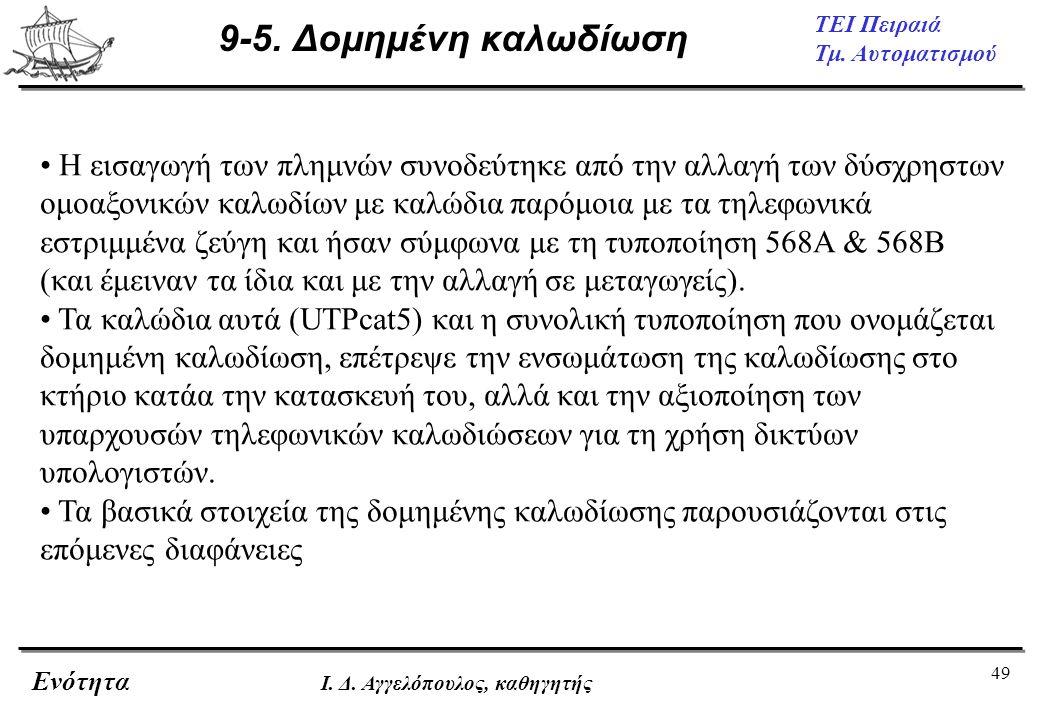 49 ΤΕΙ Πειραιά Τμ. Αυτοματισμού Ενότητα Ι. Δ. Αγγελόπουλος, καθηγητής 9-5. Δομημένη καλωδίωση • Η εισαγωγή των πλημνών συνοδεύτηκε από την αλλαγή των