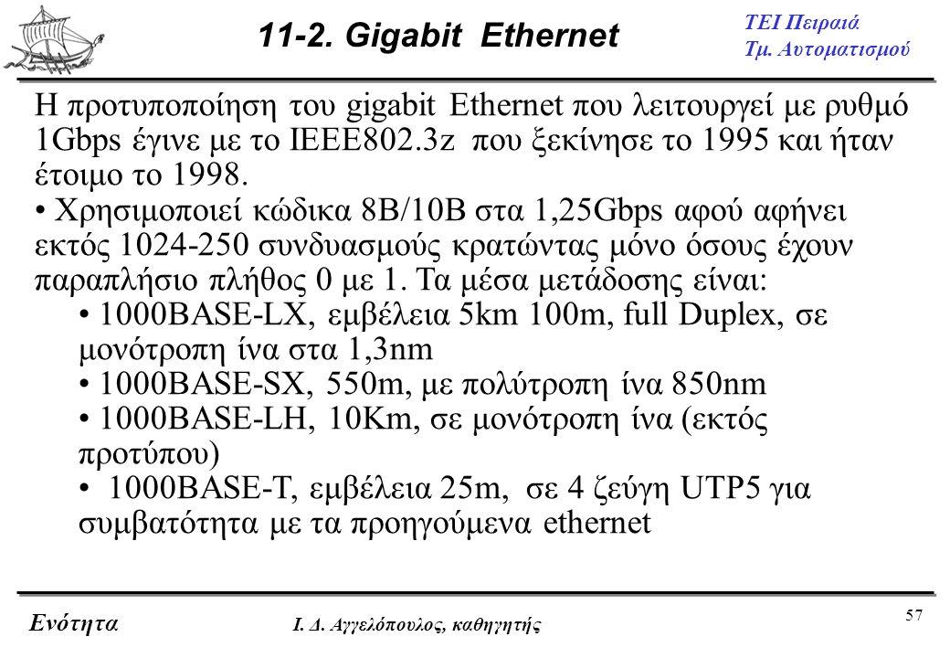 57 ΤΕΙ Πειραιά Τμ. Αυτοματισμού Ενότητα Ι. Δ. Αγγελόπουλος, καθηγητής 11-2. Gigabit Ethernet H προτυποποίηση του gigabit Ethernet που λειτουργεί με ρυ