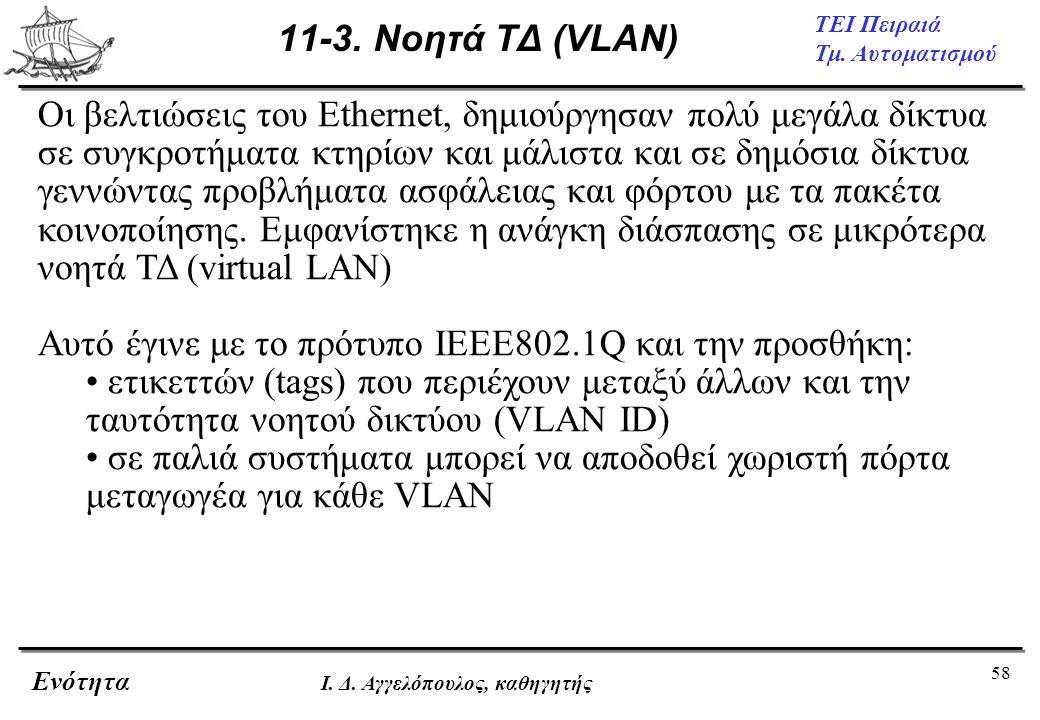 58 ΤΕΙ Πειραιά Τμ. Αυτοματισμού Ενότητα Ι. Δ. Αγγελόπουλος, καθηγητής 11-3. Νοητά ΤΔ (VLAN) Οι βελτιώσεις του Ethernet, δημιούργησαν πολύ μεγάλα δίκτυ