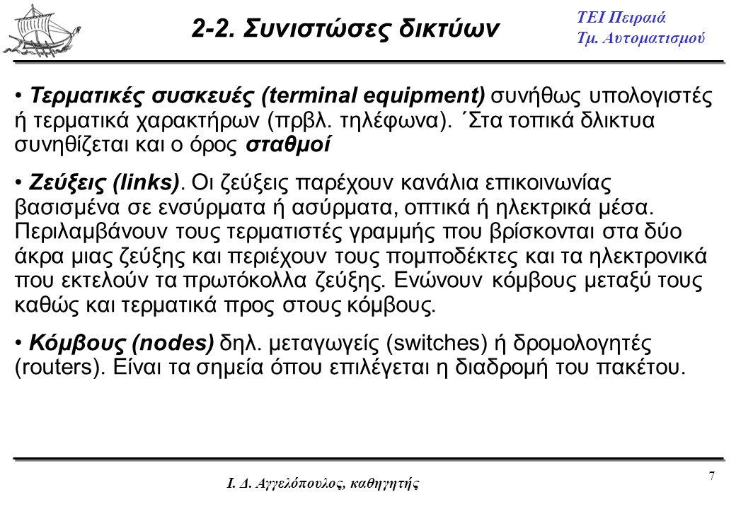 7 ΤΕΙ Πειραιά Τμ. Αυτοματισμού Ι. Δ. Αγγελόπουλος, καθηγητής 2-2. Συνιστώσες δικτύων • Τερματικές συσκευές (terminal equipment) συνήθως υπολογιστές ή