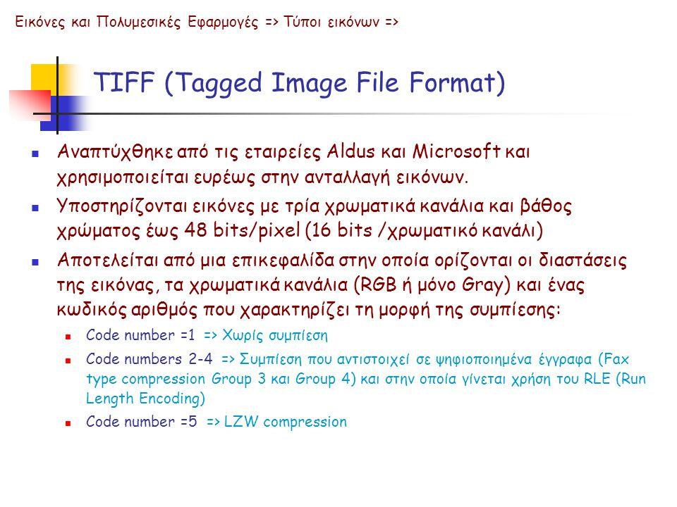 TIFF (Tagged Image File Format) Εικόνες και Πολυμεσικές Εφαρμογές => Τύποι εικόνων =>  Αναπτύχθηκε από τις εταιρείες Aldus και Microsoft και χρησιμοπ