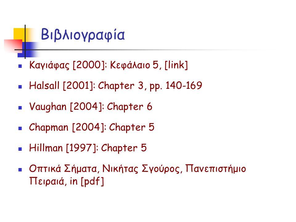 Βιβλιογραφία  Καγιάφας [2000]: Κεφάλαιο 5, [link]  Halsall [2001]: Chapter 3, pp. 140-169  Vaughan [2004]: Chapter 6  Chapman [2004]: Chapter 5 