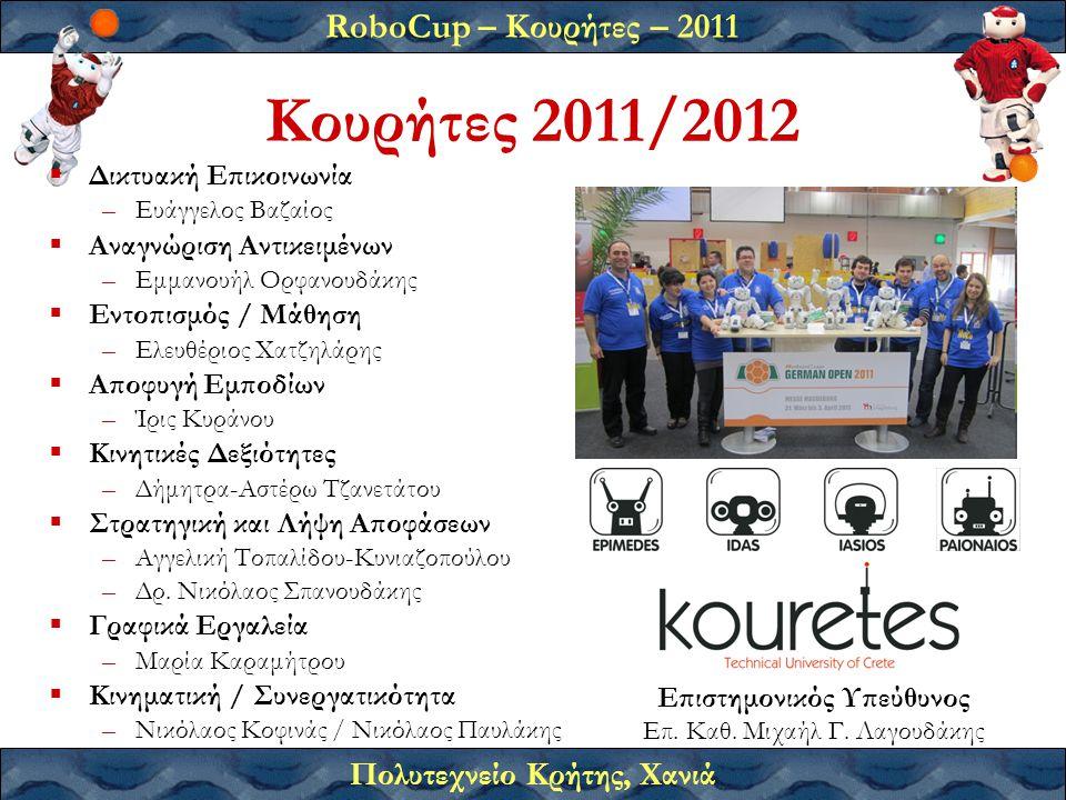 RoboCup – Κουρήτες – 2011 Πολυτεχνείο Κρήτης, Χανιά Κουρήτες 2011/2012 Επιστημονικός Υπεύθυνος Επ. Καθ. Μιχαήλ Γ. Λαγουδάκης  Δικτυακή Επικοινωνία –Ε